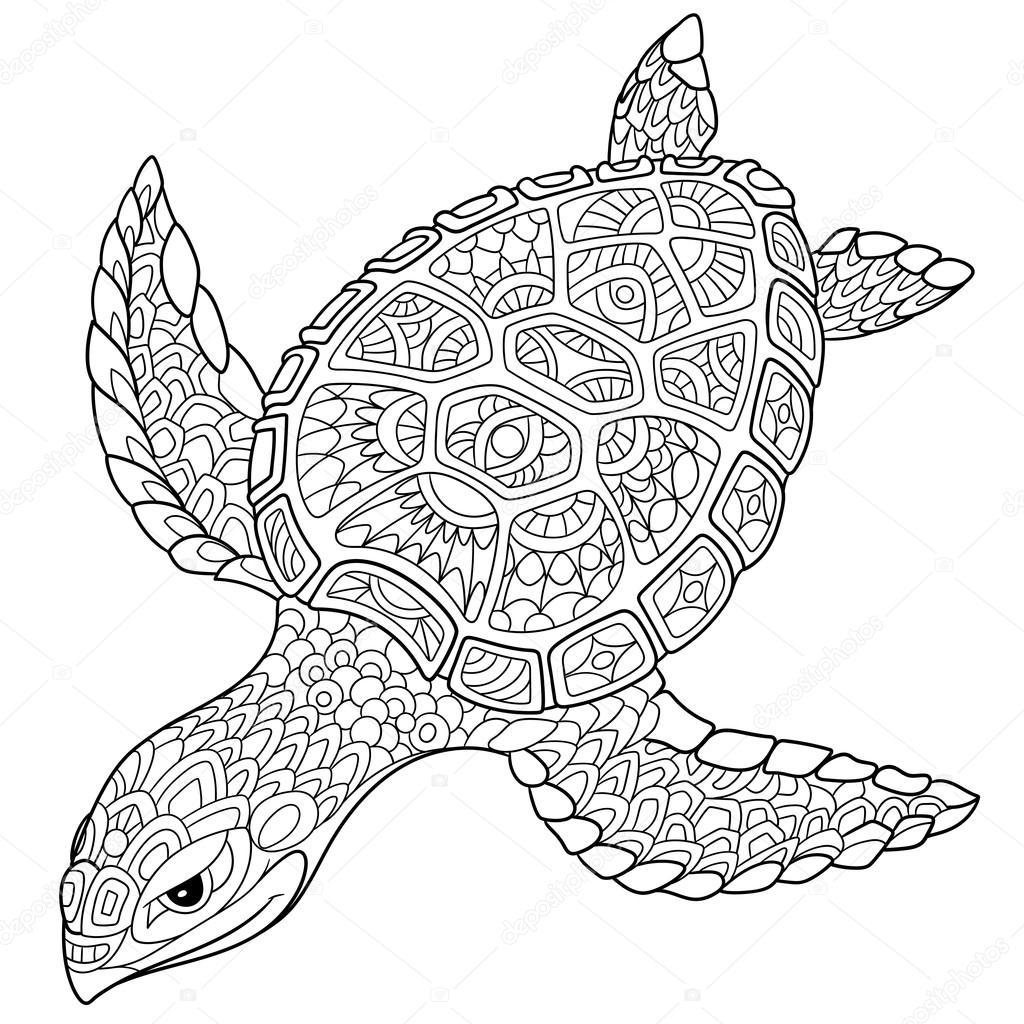 zentangle gestileerde schildpad stockvector 169 sybirko