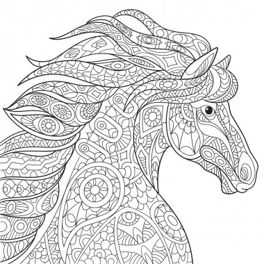 Zentangle stylized horse