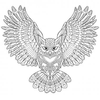 Zentangle stylized eagle owl