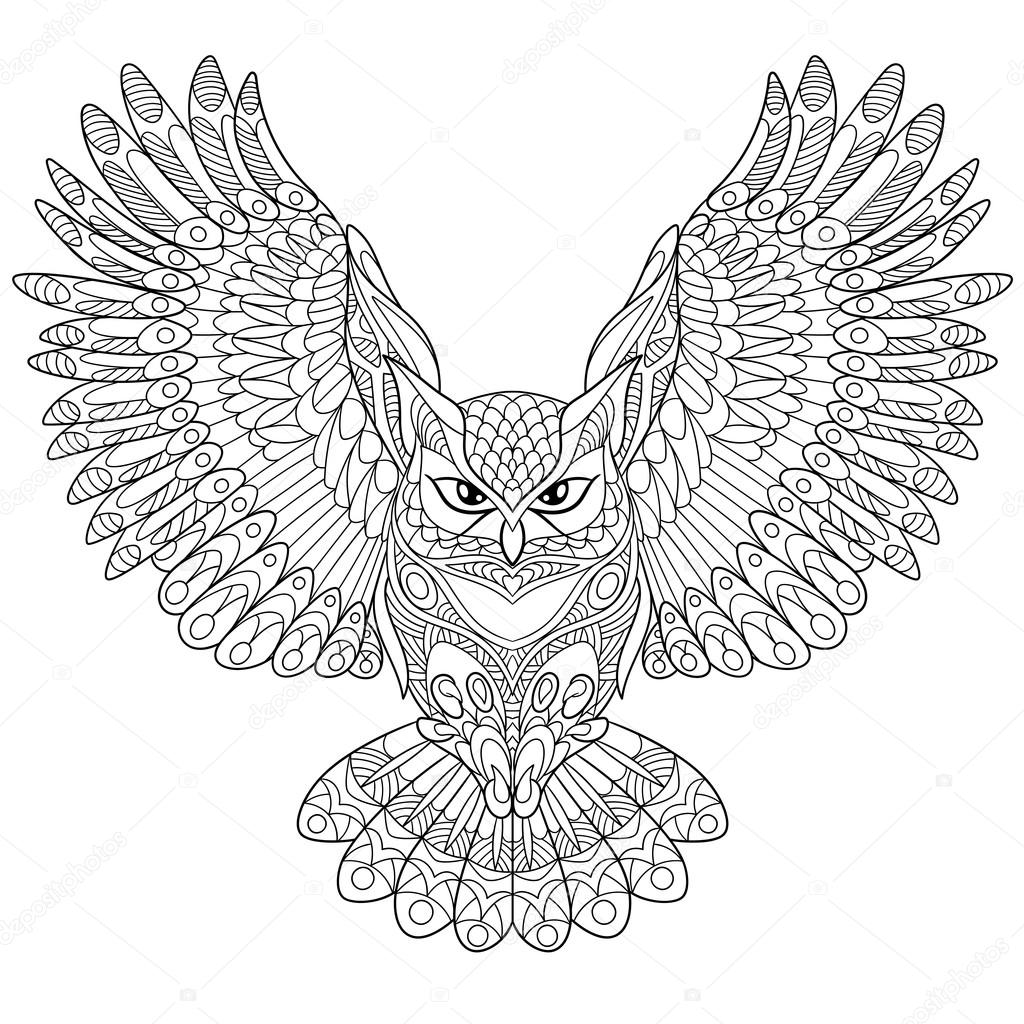 Hibou grand duc zentangle stylis image vectorielle - Dessin hibou grand duc ...