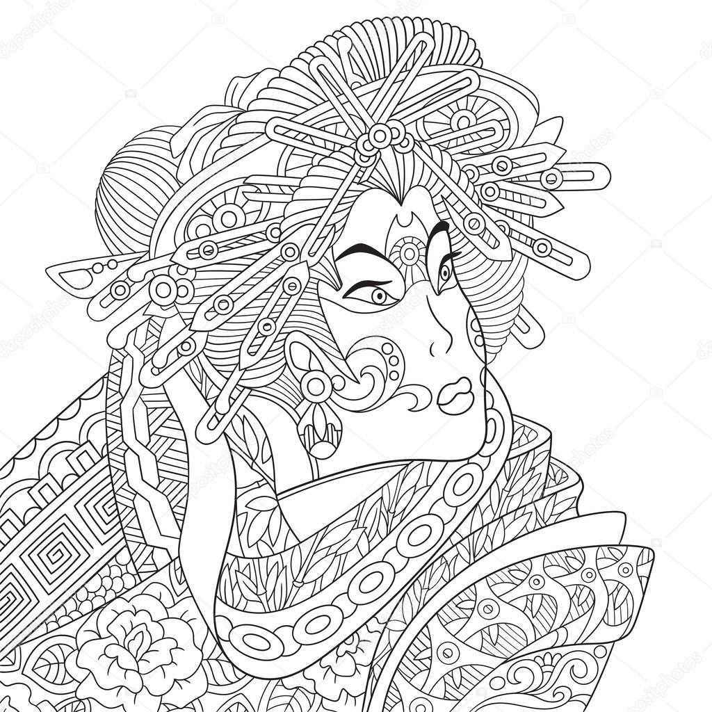 zentangle stylized geisha woman stock vector sybirko