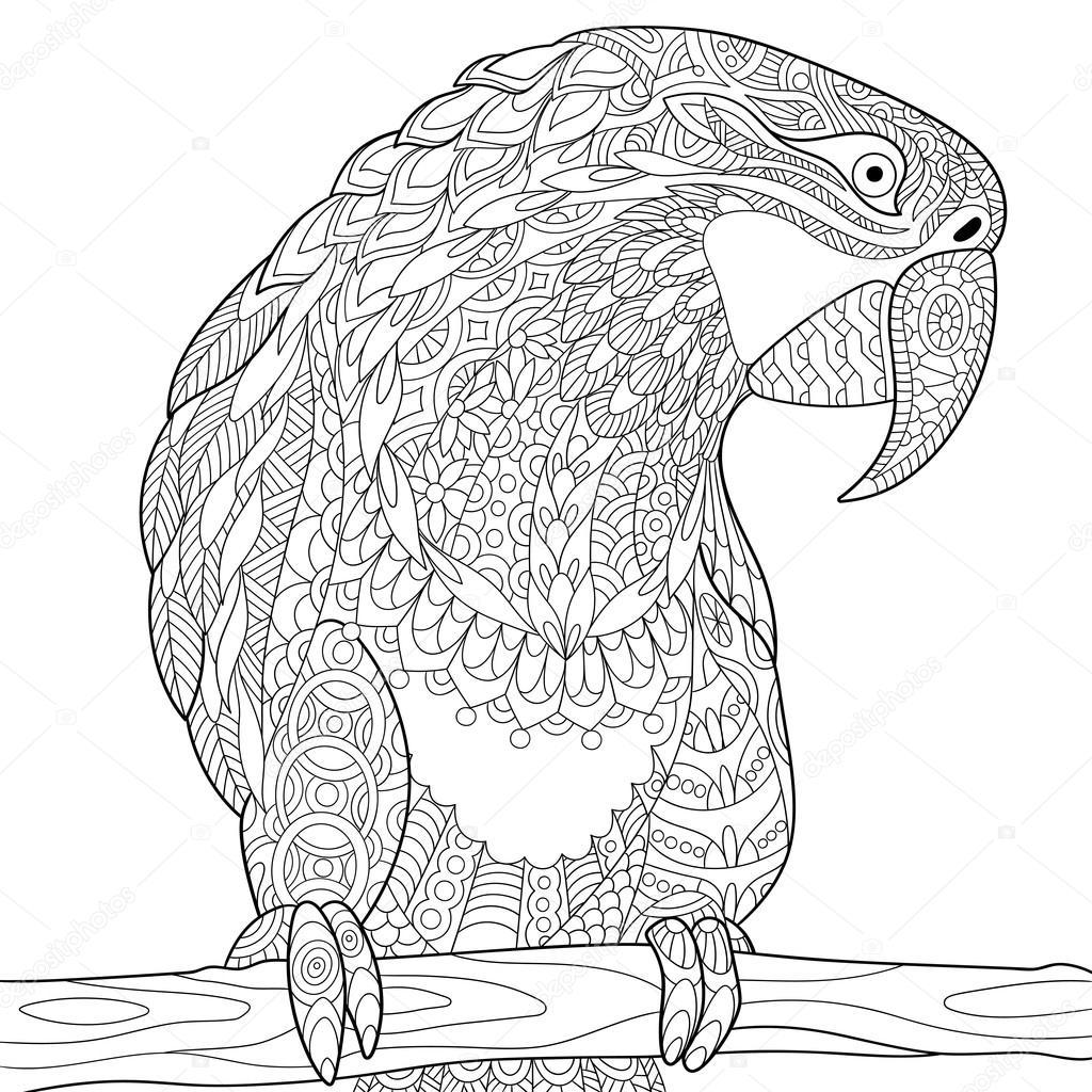 раскраска попугай ара Zentangle стилизованный попугай ара