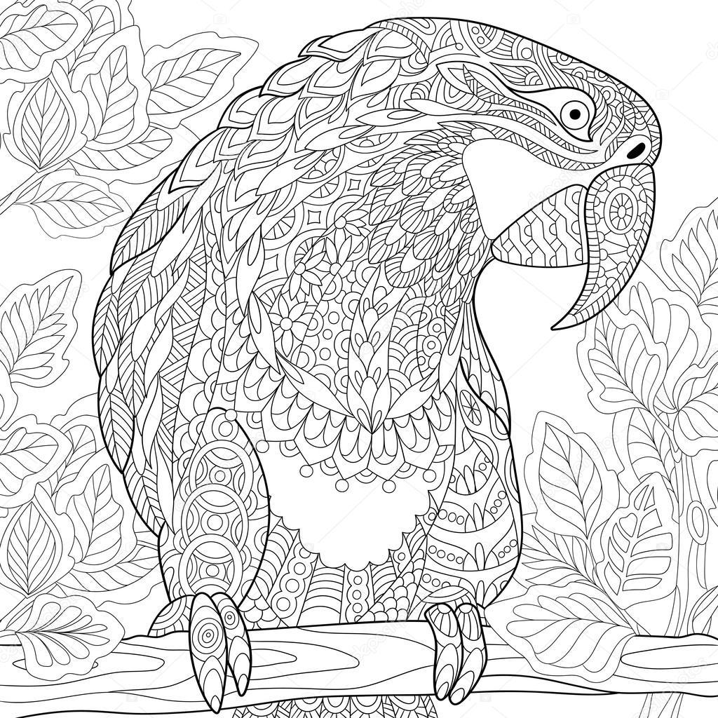 zentangle gestileerde papegaai ara stockvector