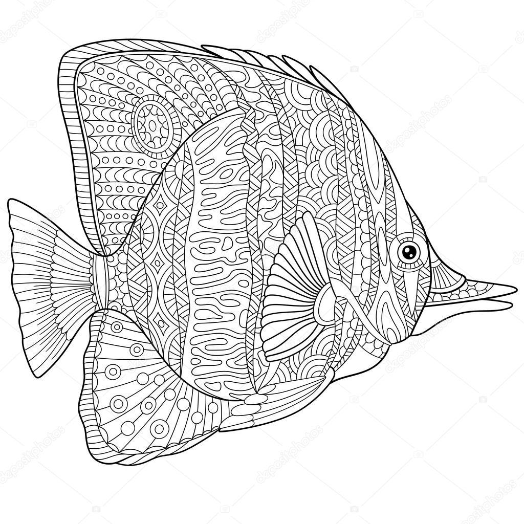 Zentangle estilizado pez mariposa — Vector de stock © Sybirko #108380596