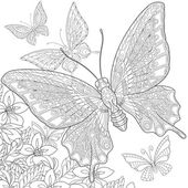 Photo Zentangle stylized butterflies