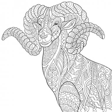 Zentangle stylized goat