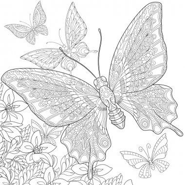Zentangle stylized butterflies