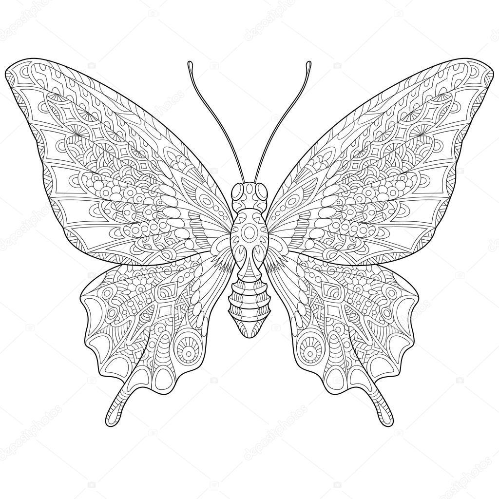 Farfalla Stilizzata Zentangle Vettoriali Stock Sybirko 109417298