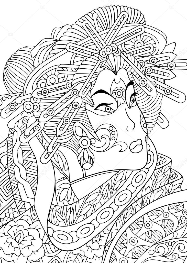 Coloriage Anti Stress Danse.Femme Stylisee Geisha Zentangle Image Vectorielle Sybirko