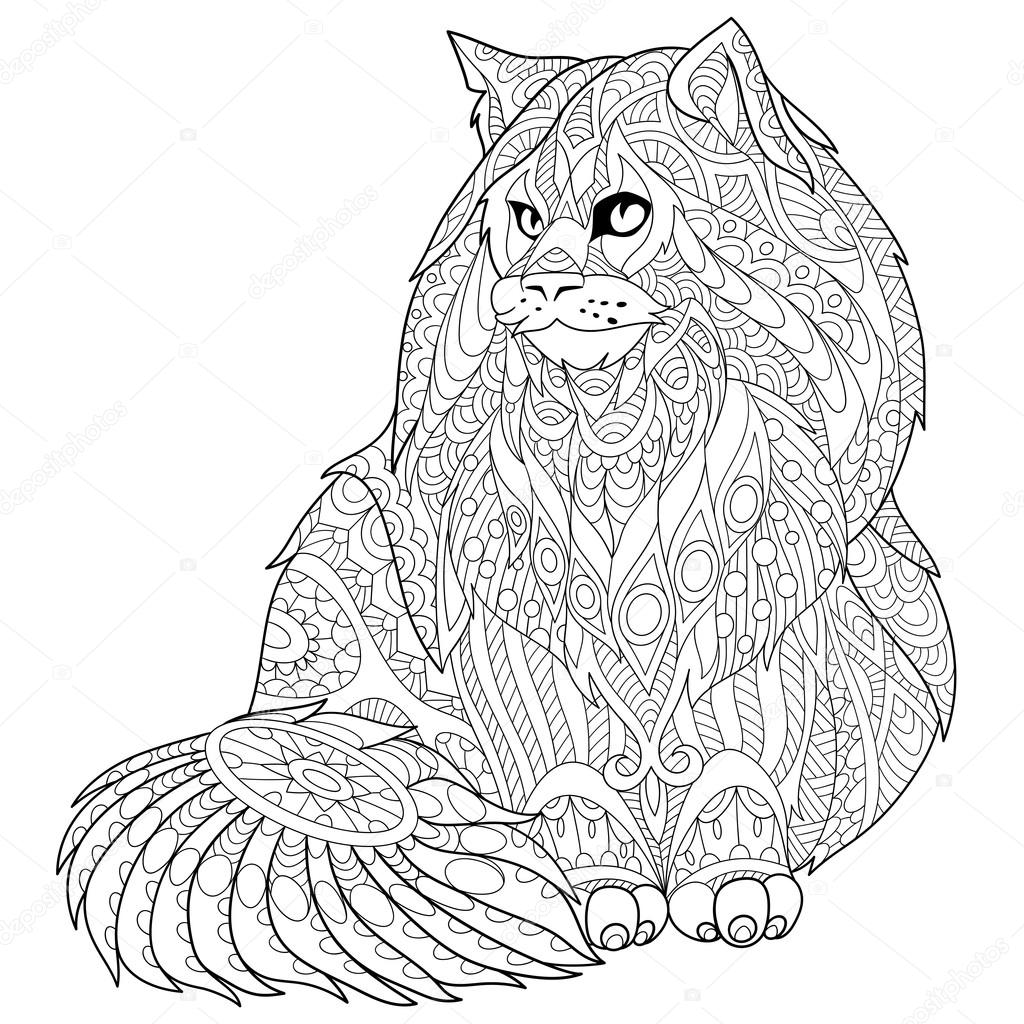 Zentangle stylisée chat de maine coon — Image vectorielle