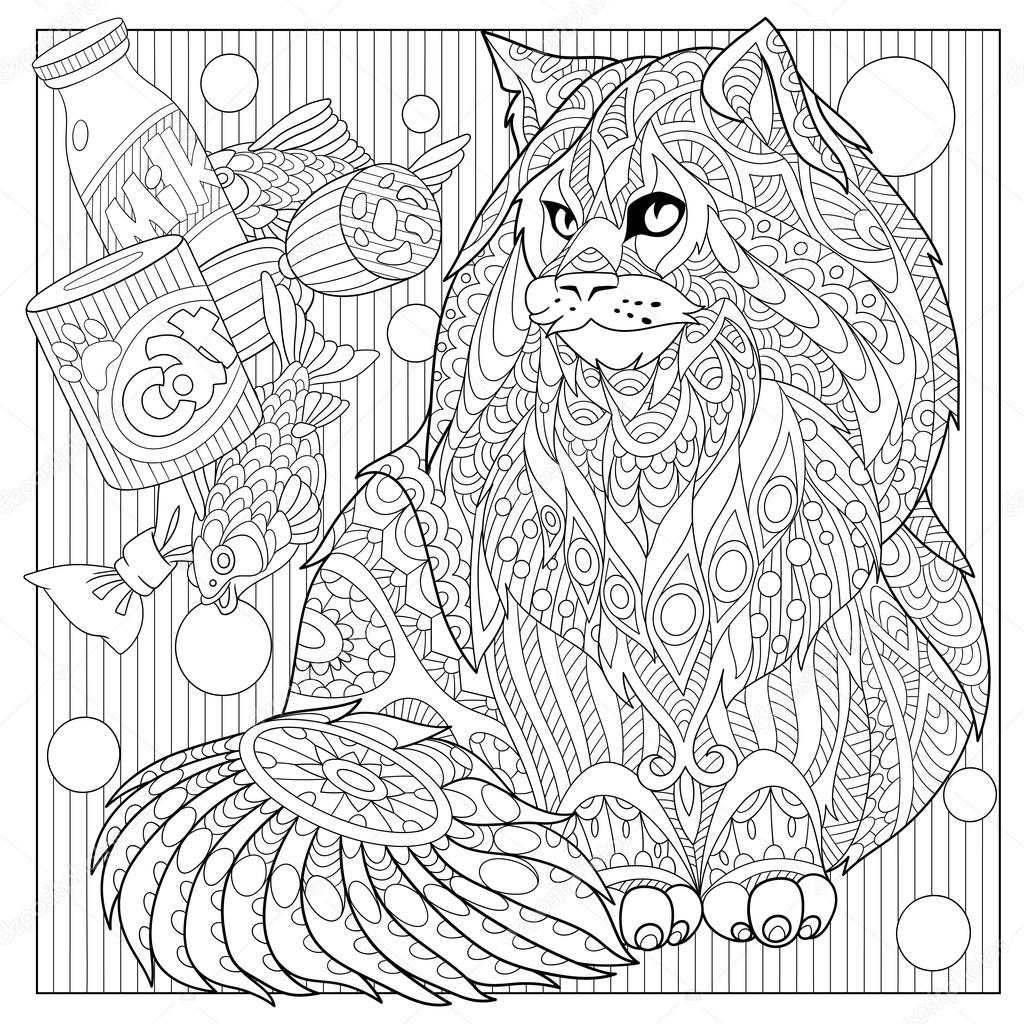 zentangle stylized cartoon maine coon with cat food hand drawn sketch for adult antistress coloring page t shirt emblem logo or tattoo with doodle