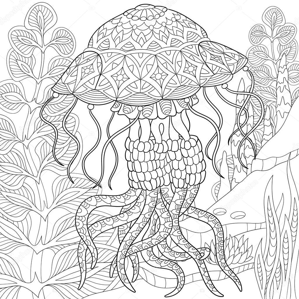 Zentangle stilizzato meduse vettoriali stock sybirko for Medusa da colorare