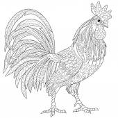 Zentangle stylized rooster (cock)