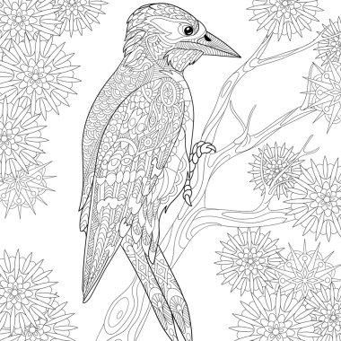 Zentangle stylized woodpecker