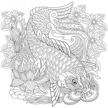 Zentangle stylized koi carp