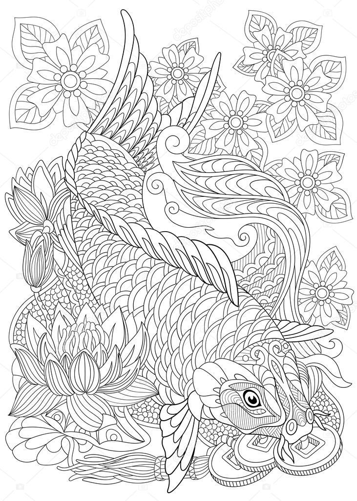 Zentangle stilisiert-Koi-Karpfen — Stockvektor © Sybirko #113247074