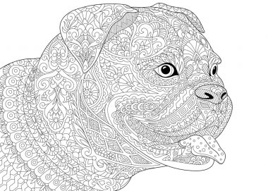 Zentangle stylized german boxer dog