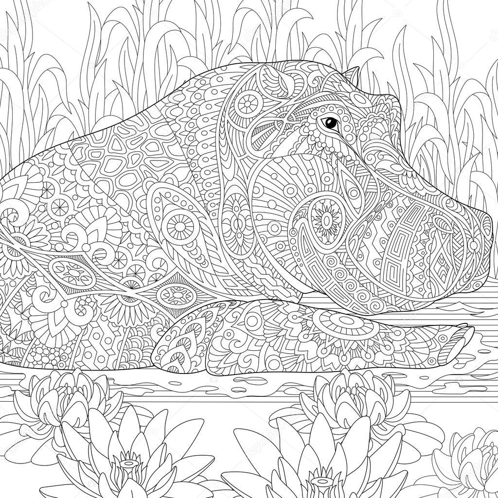 Zentangle stylized hippopotamus (hippo) — Stockvektor © Sybirko ...
