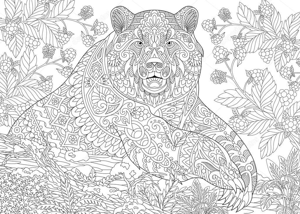 Imágenes: oso grizzly para colorear | Zentangle estilizado oso ...