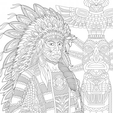 Zentangle stylized red indian chief (redskin man)