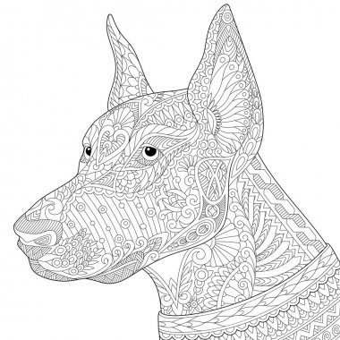 Zentangle stylized doberman pinscher dog