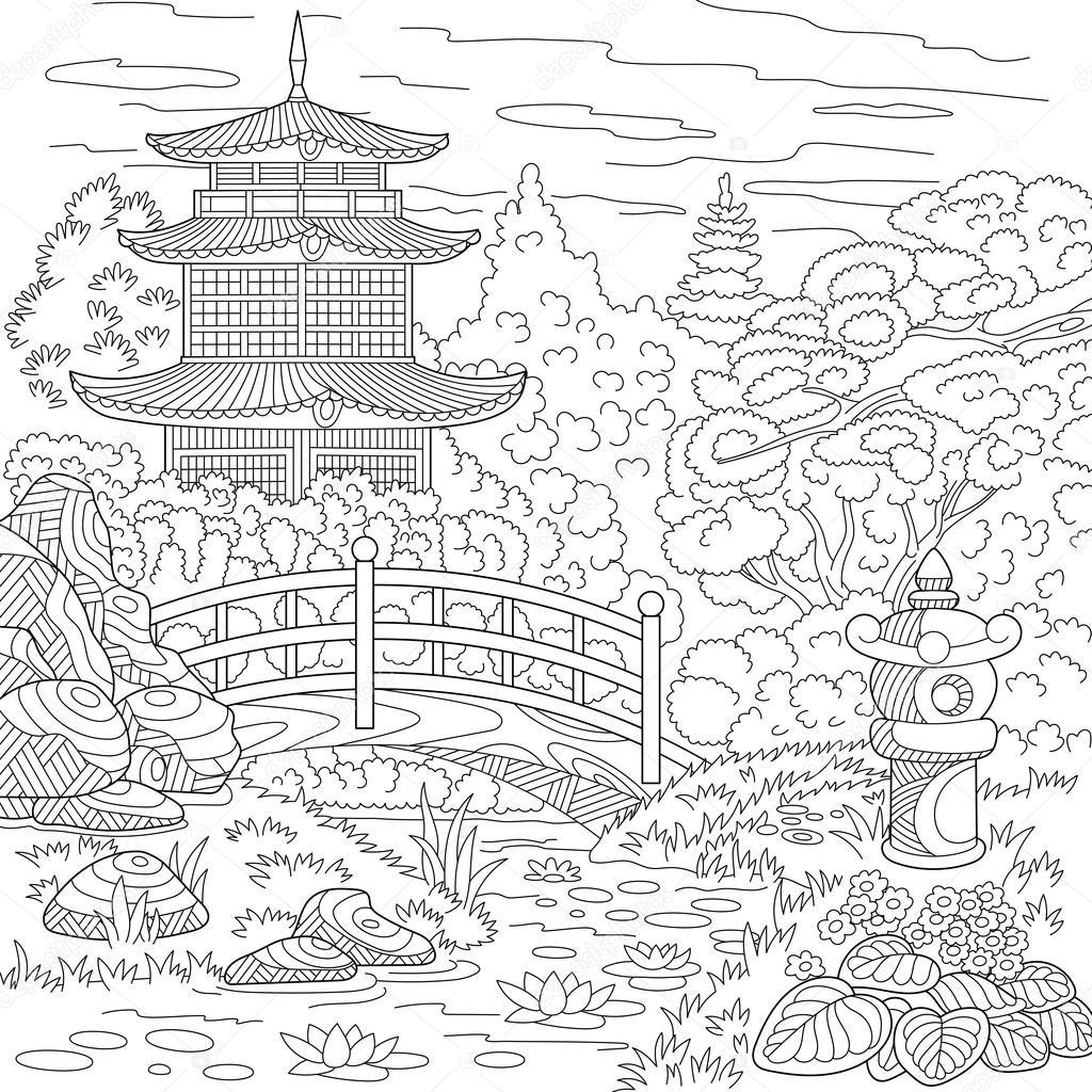 zentangle pagode estilizado vetores de stock sybirko 120721994