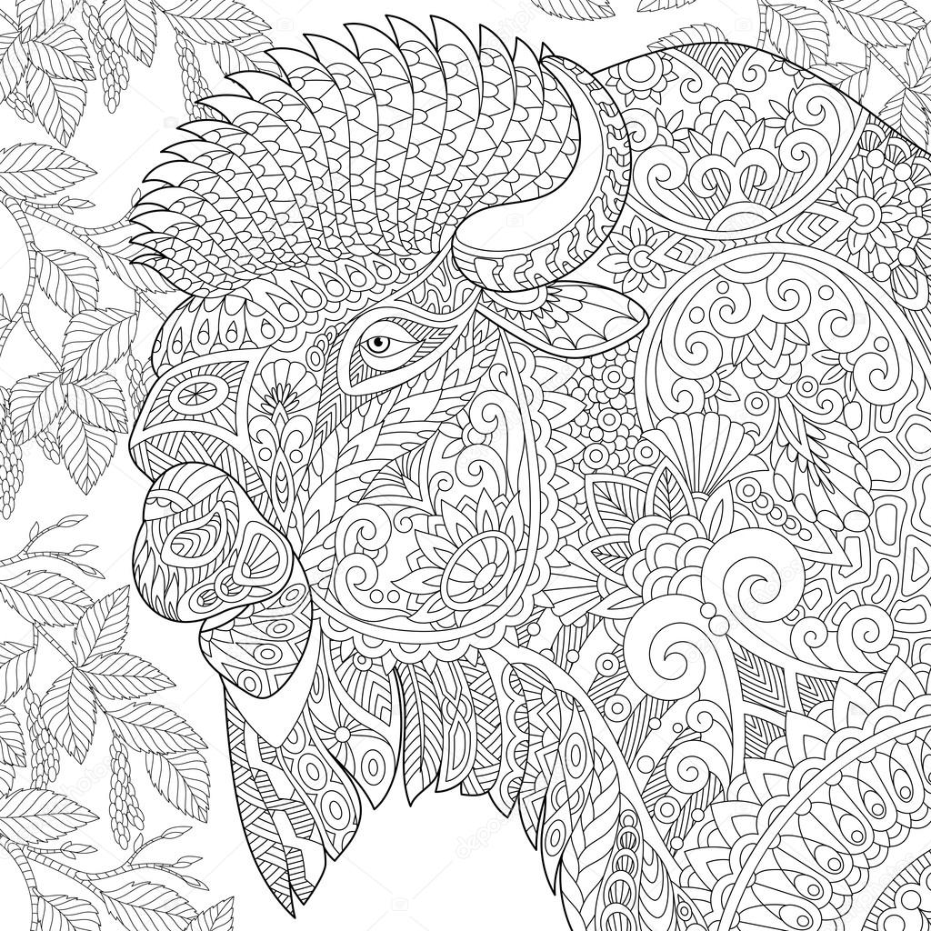 Bisonte estilizada zentangle — Archivo Imágenes Vectoriales ...