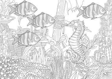 Zentangle stylized aquarium