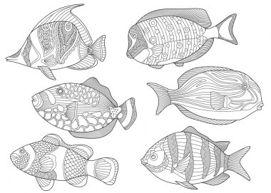 Zentangle stylized tropical fishes