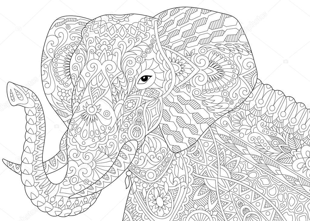 Elefantes para colorear adultos | Zentangle estilizado elefante ...