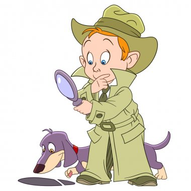 Smart young cartoon detective boy and his bloodhound dog are solving a mysterious footprint stock vector