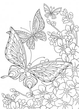 Zentangle stylized butterflies and sakura flower.