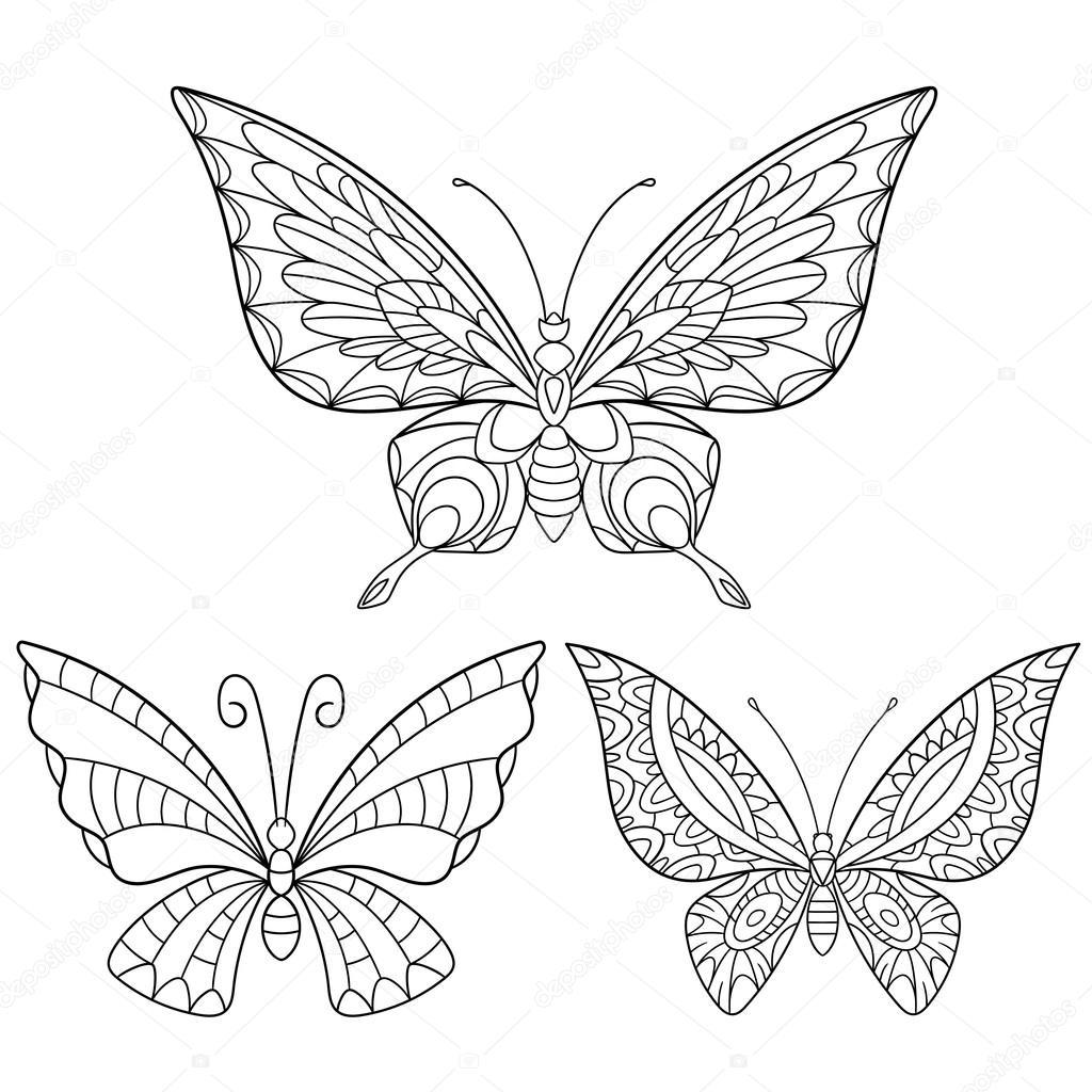 3 Mariposas Para Colorear Zentangle Estilizado Colección