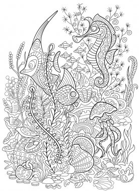 Zentangle stylized animal set sea collection. Ocean life.
