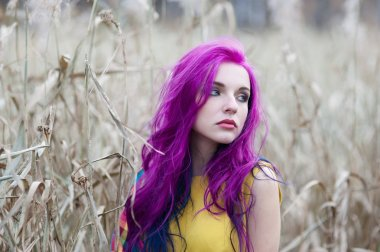Portrait of a girl with purple hair