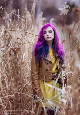 Girl with purple hair in a high yellow autumn grass