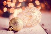 Fotografie Detailní záběr na vánoční ozdoby