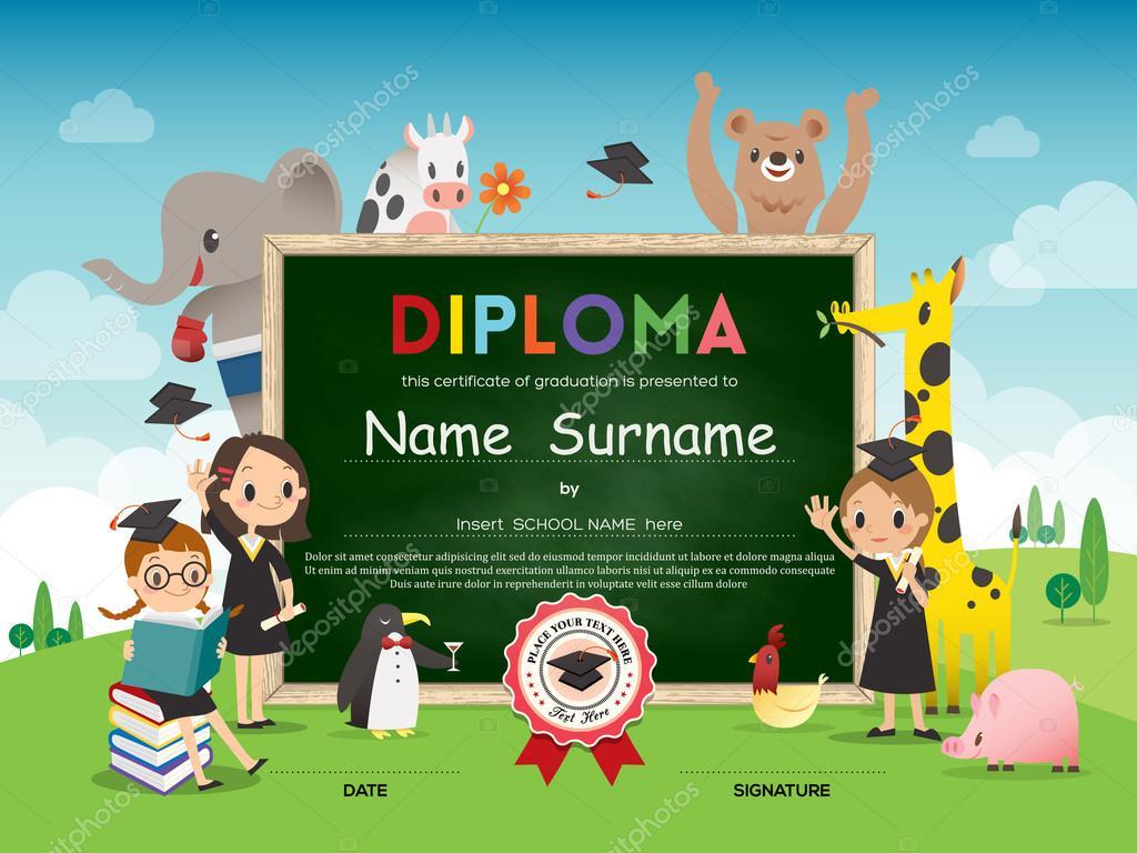 Schule Kinder Diplom Zertifikatvorlage tierische Cartoons gerahmt ...
