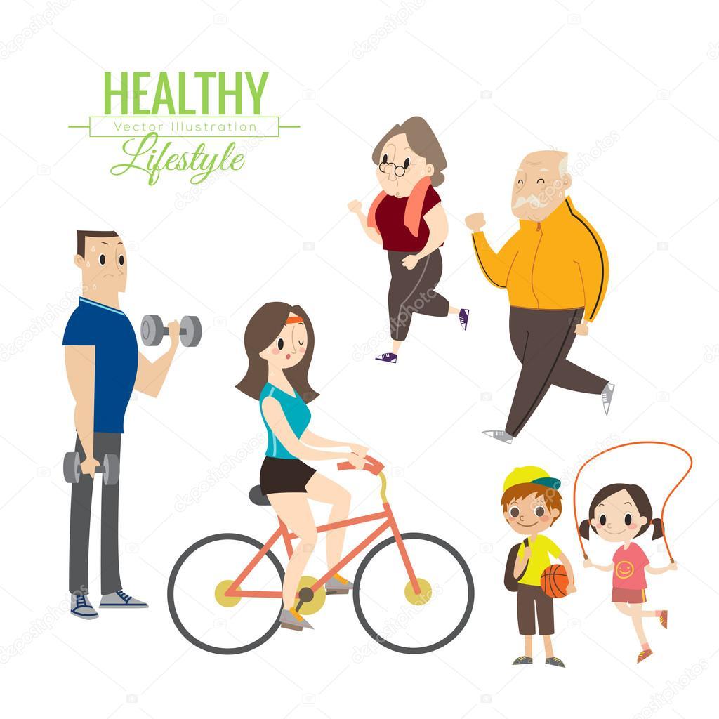 feliz familia ejercicio de estilo de vida saludable u vector de stock