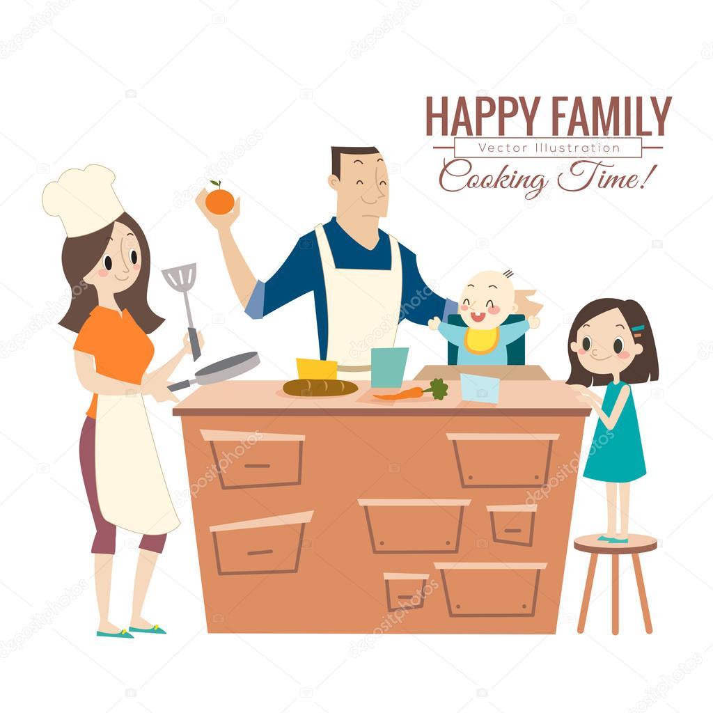 Familia Feliz Con Padres Y Niños Cocinar En Cocina Archivo