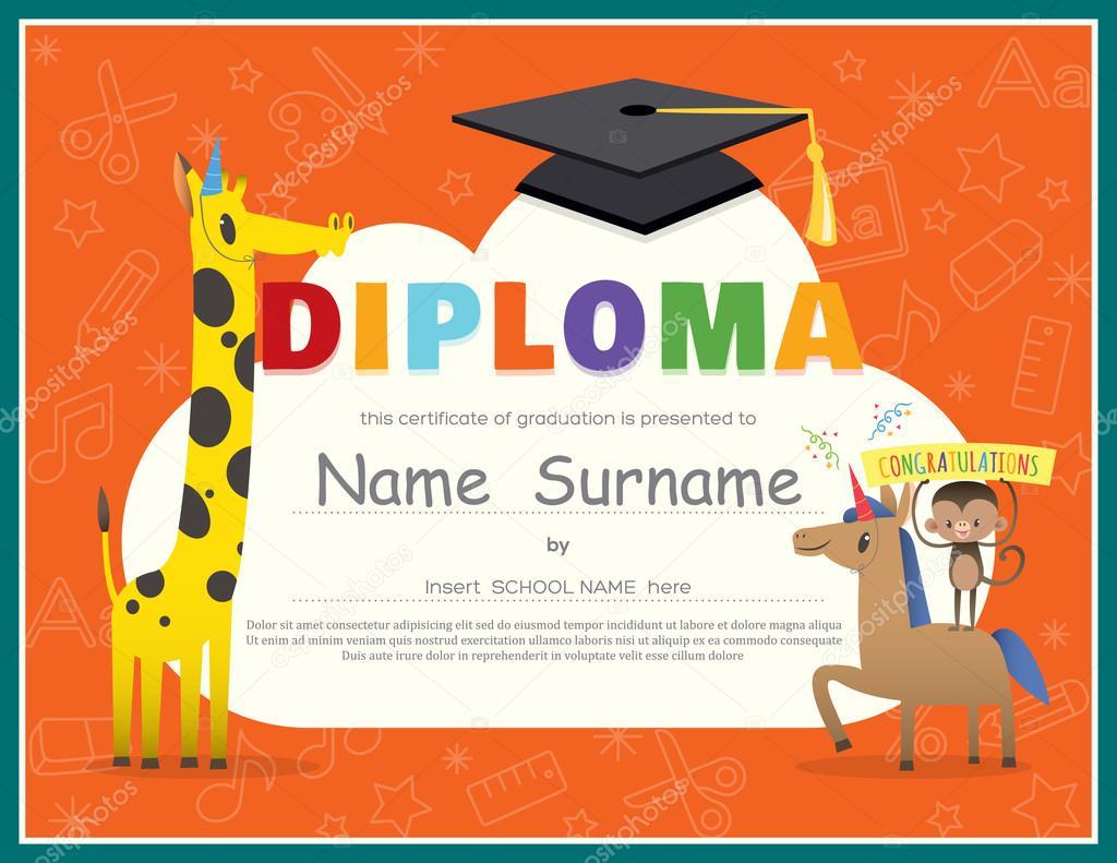 Primary school kids diploma certificate design template stock primary school kids diploma certificate design template stock vector yadclub Gallery