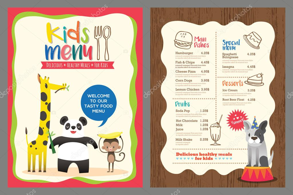 Cute Colorful Kids Meal Menu Vector Template With Animals