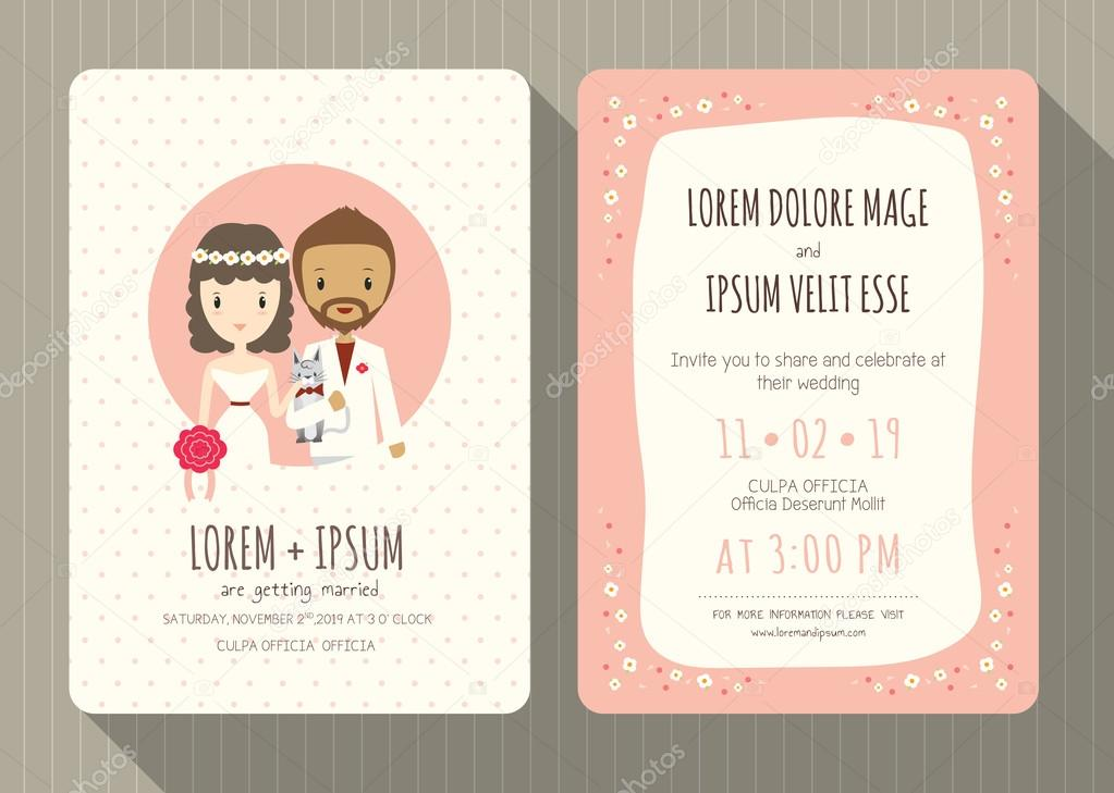 wedding invitation card with cute groom and bride cartoon Stock