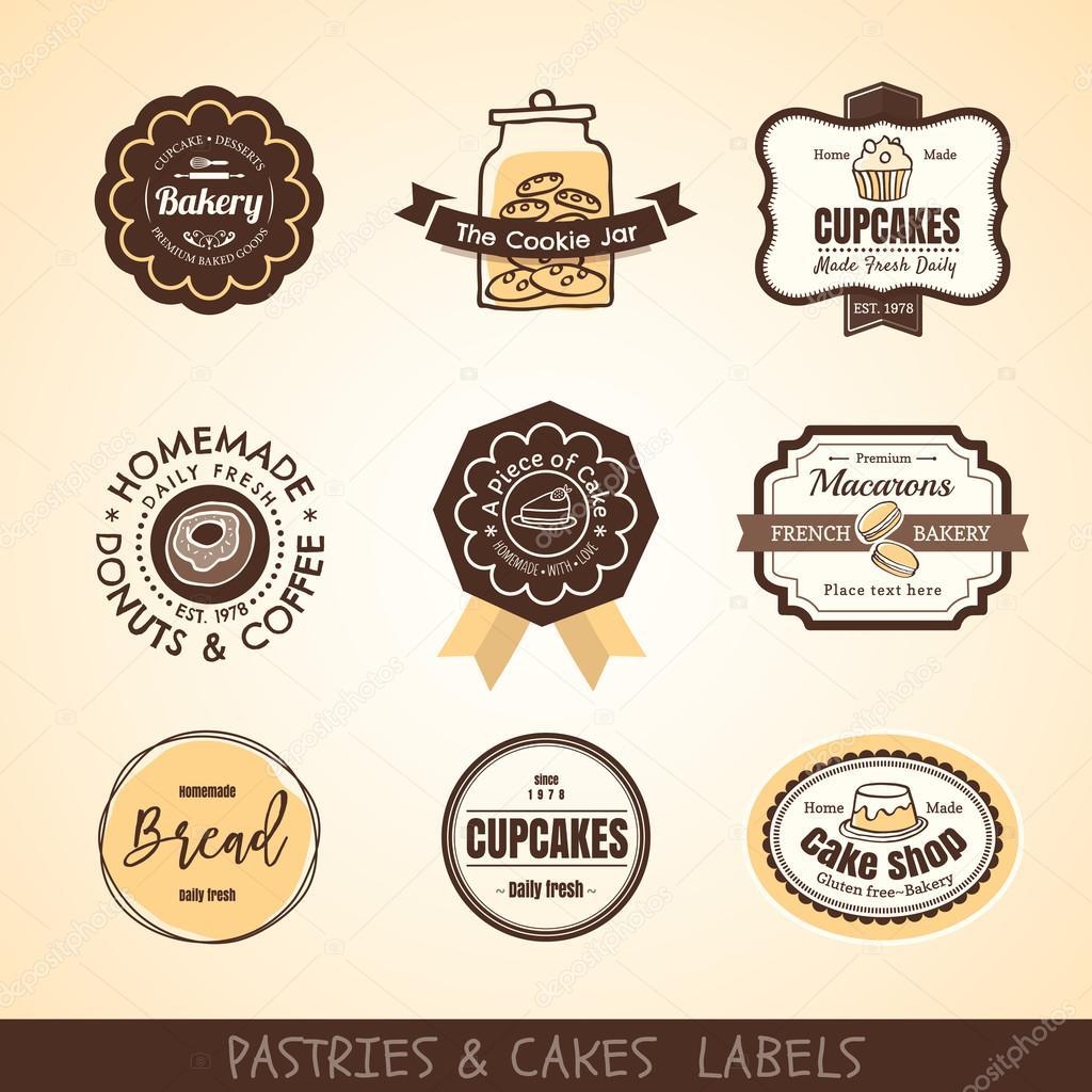Marcos y las etiquetas del logotipo panadería vintage — Archivo ...