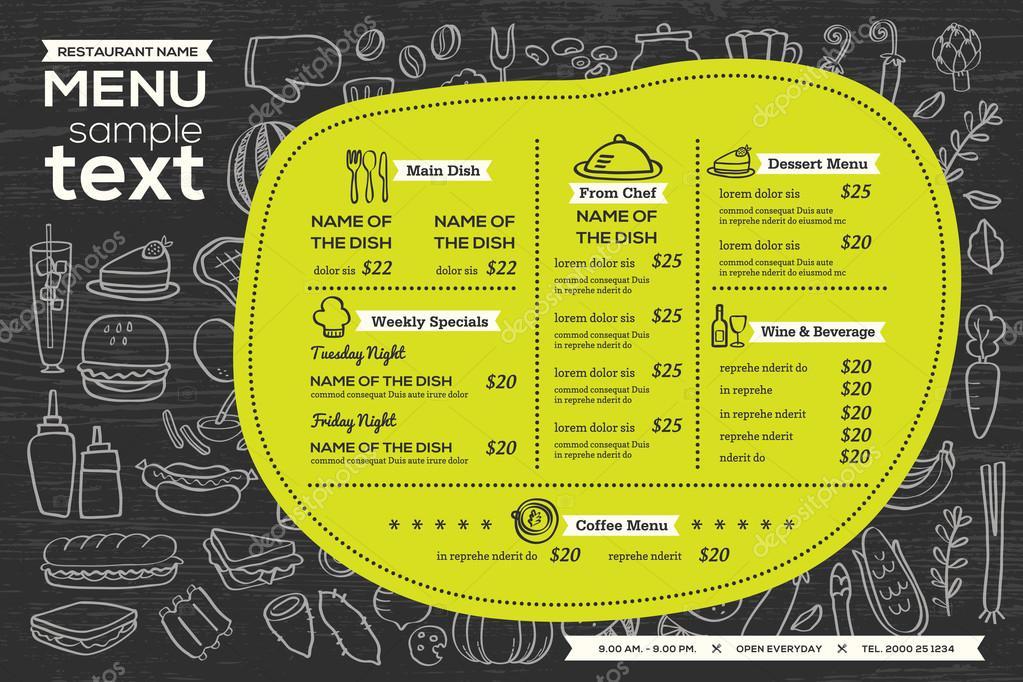 fondo del restaurante café menú plantilla diseño alimentos flyer ...