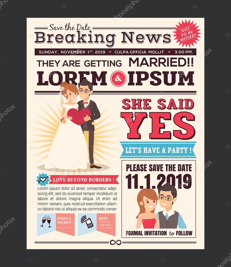 Couple Cartoon Newspaper Journal Wedding Invitation Vector Design Template By Kraphix