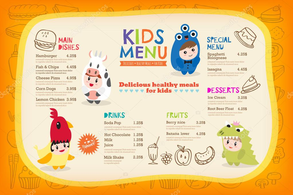 Cute colorful kids meal menu template with children dressing up in cute colorful kids meal menu placemat with children dressing up in costumes vector template vector by kraphix pronofoot35fo Images