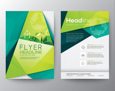 Abstract Triangle Brochure Flyer design vector template in A4 size stock vector