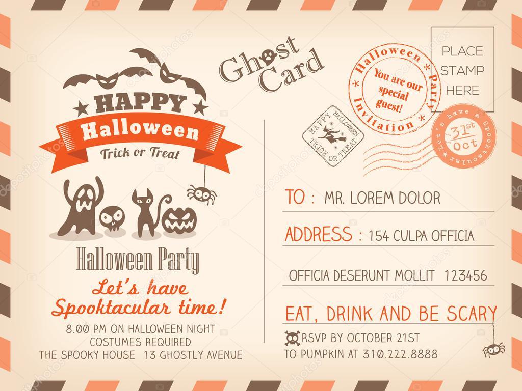 Happy Halloween Vintage Postcard invitation background design la ...