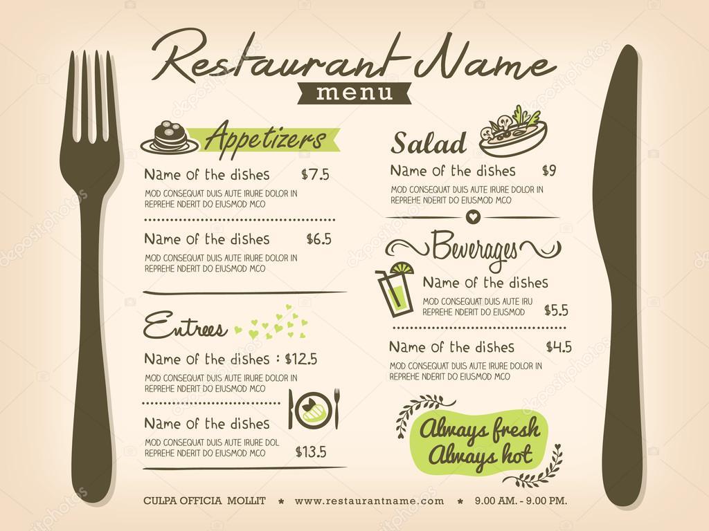 mantel individual de restaurante menú plantilla diseño — Archivo ...